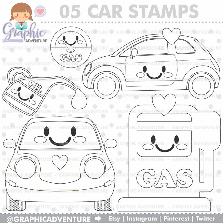 75%OFF - Car Stamp, COMMERCIAL USE, Digi Stamp, Digital Image, Party Digistamp, Car Coloring Page, Gas Clipart, Gas Pump Clipart, Gasoline