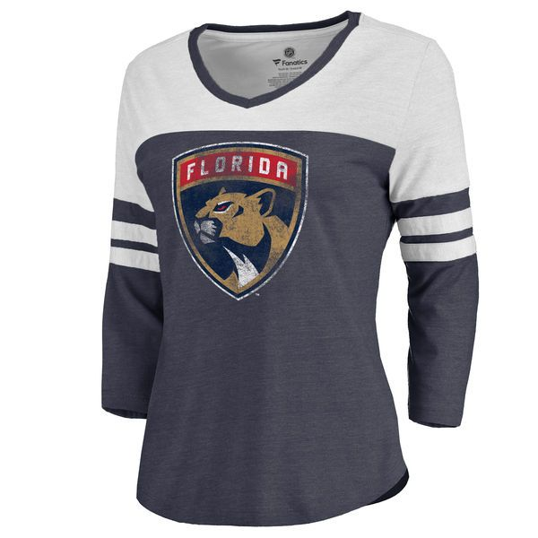 Women's Navy Florida Panthers Distressed Team Primary Logo Three-Quarter Sleeve Tri-Blend T-Shirt