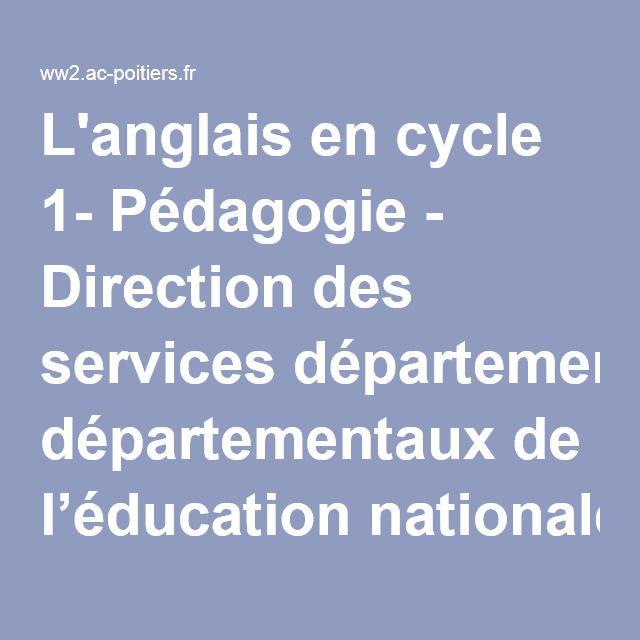 L'anglais en cycle 1- Pédagogie - Direction des services départementaux de l'éducation nationale du 86 - Pédagogie - Académie de Poitiers