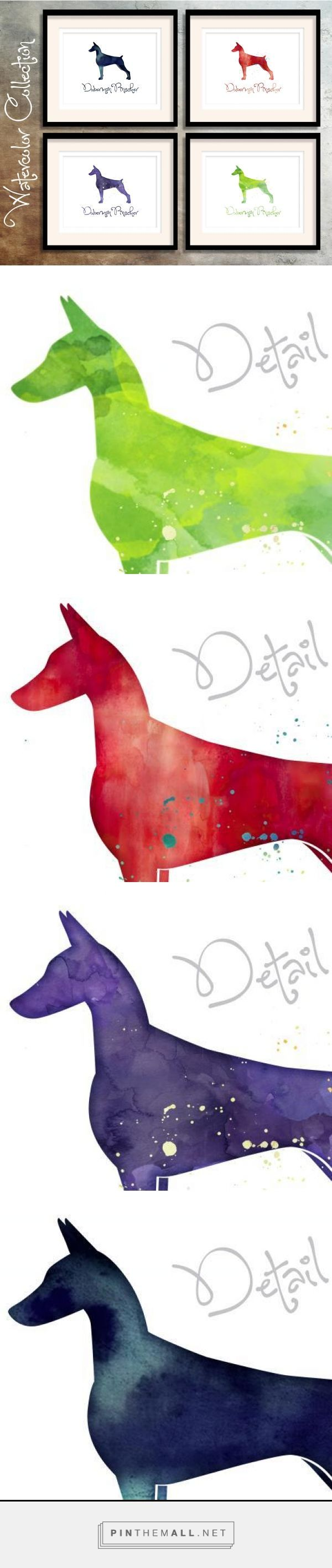 ❤ Doberman Pinscher- Watercolor Silhouette Collection from the Breed Collection - Digital Download Printable - Frameable 8x10