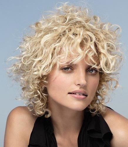 layered blonde bob hairstyle with curly long bangs | Short ...