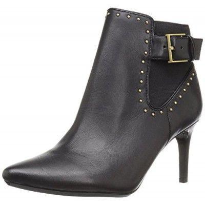 Calvin Klein Women's Jozie Ankle Bootie, Black Leather, 5 M US