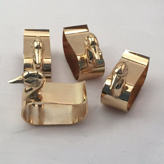 Midcentury Brass Duck Napkin Rings Gold Duck by RetroUrbanWares