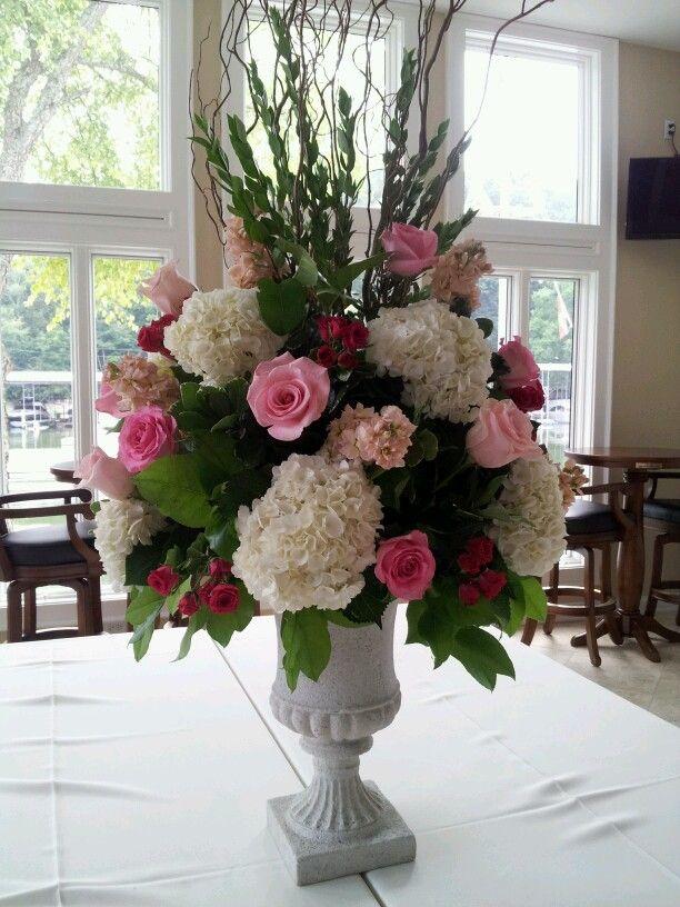 Beautiful pink floral arrangement for wedding buffet arrangement. Knoxville wedding, Knoxville florist, Always in Bloom