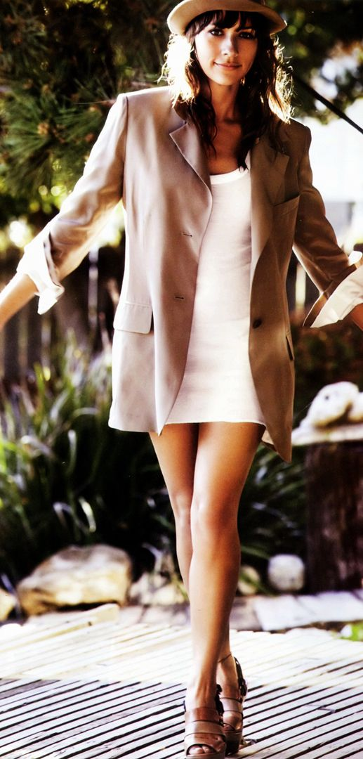simple white #minidress and #nude #blazer with a cute pair of heels..yes.