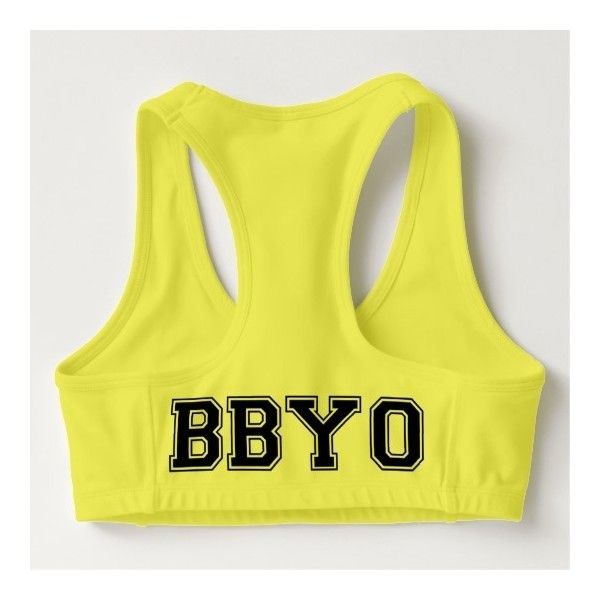 BBYO SPORTS BRA ($35) ❤ liked on Polyvore featuring activewear, sports bras and yellow sports bra