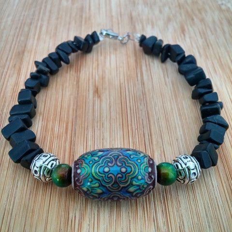 Black Jasper Color Changing Mood Bracelet