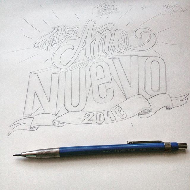 Sketch: Feliz año nuevo 2016  #happy #new #year #happynewyear #letras #calligraphy #2016 #mimisereyc #instanletters #calligraphymasters #typeverything #typelove #type_matters #typeverything #lettering #disenocaligrafico #discovery_talent #type.gang #goodtype #StrengthInLetters #handmadefont #art #artdigital #caligrafia #sickwebtalent