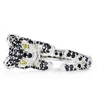 Diamonique 2.8ct tw Black Simulated Diamond Cat Ring Sterling Silver
