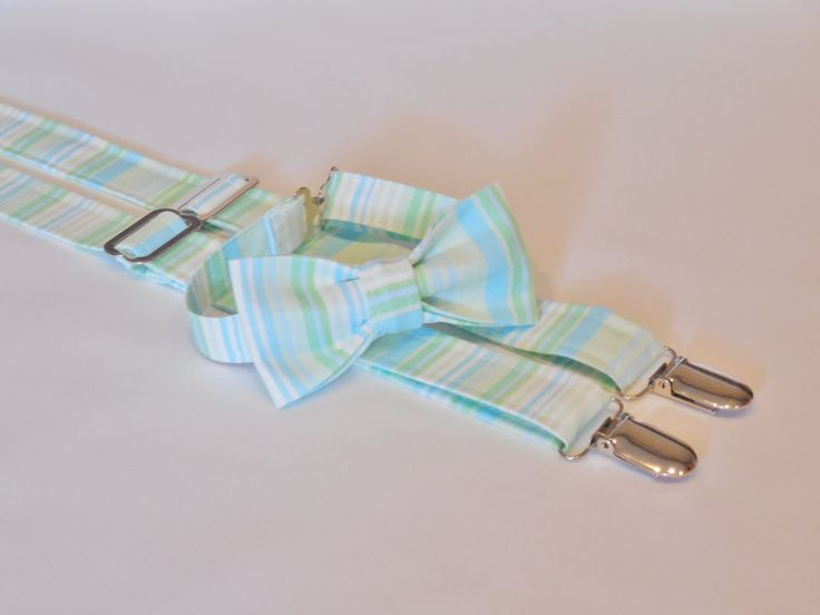 Mint stripe bow tie and suspender set. Bow tie and suspenders set in mint stripes for Easter, wedding, birthday. For baby, toddler, or boys by CuppyCakeClothing on Etsy