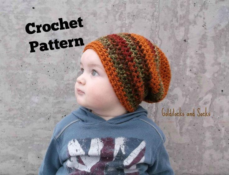 Crochet hat pattern slouchy beanie pattern instant download beanie toddler slouchy beanie crochet slouch hat toddler boy hat