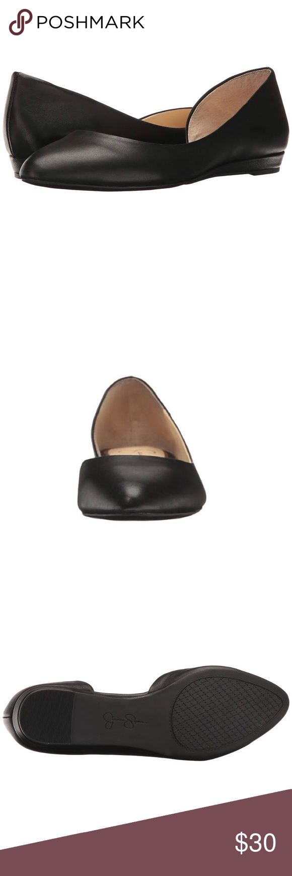 Jessica Simpson Women's Lynsey Ballet Flat Black Box included! An open side adds a flirty touch to an almond-toe flat lifted by a slight wedge. Leather upper. Slip-on wear. Man-made lining. Cushioned man-made footbed. Man-made sole. Micro-wedge heel. Jessica Simpson Shoes Flats & Loafers