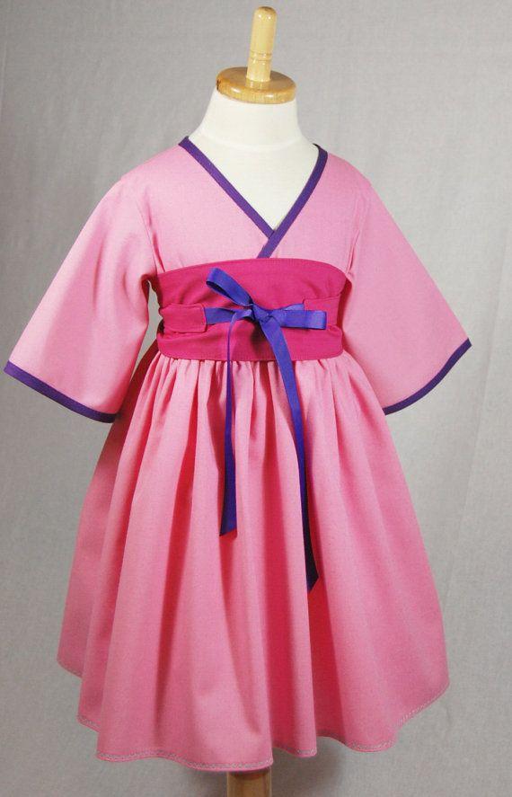 Girls Pink Dress Mulan Dress Mulan Costume by PinkMouseKids