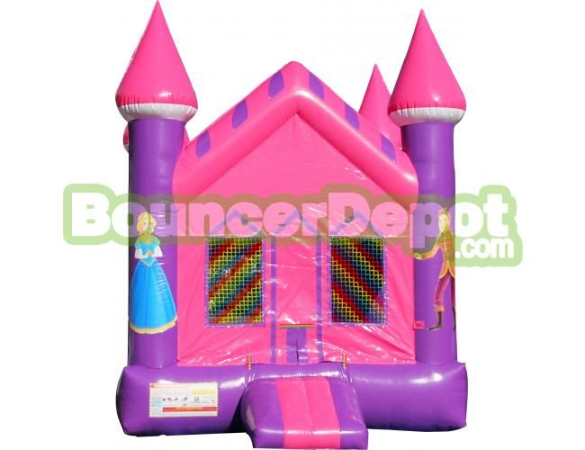 Beautiful Princess Castle Bounce House at Bouncer Depot  Princess Castle Bounce House is a inflatable jumping castle, which can be set up indoors or outdoors for year-round use. It comes with a blower, tarp and stakes to help with easy assembly. Purchase this commercial bounce house from Bouncer Depot.