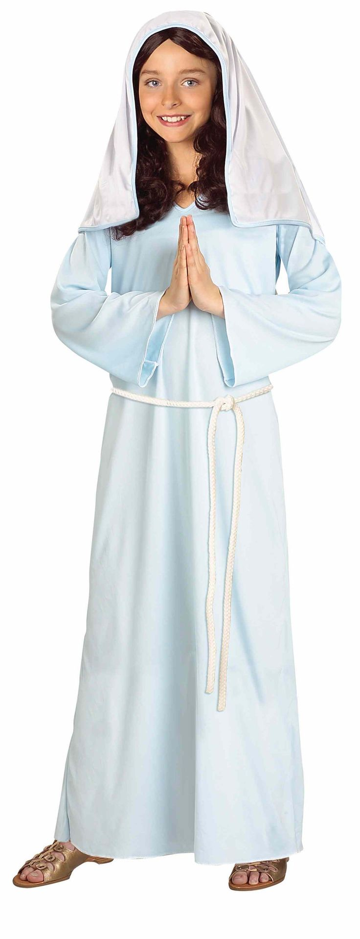 Get a holy motherly look with this Biblical Times Mary Costume Get an authentic ensemble with this costume that is ideal for Halloween, holiday or stage.