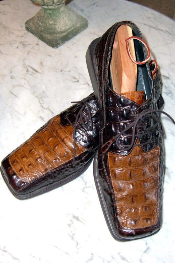 ALLIGATOR DRESS SHOES TWO TONE BROWN ITALIAN men by pearlsvintage