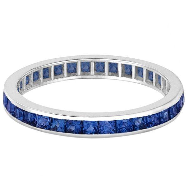 Princess-Cut Blue Sapphire Eternity Ring Band 14k White Gold 1.36ct - Allurez.com