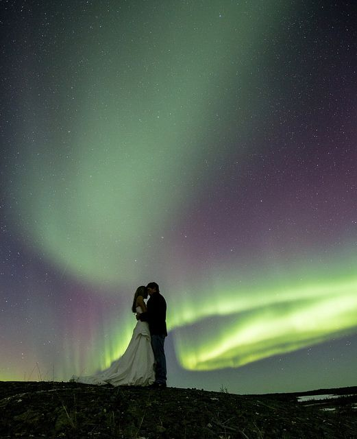 Now this would be awesome, wedding formal shot with a northern lights night background!