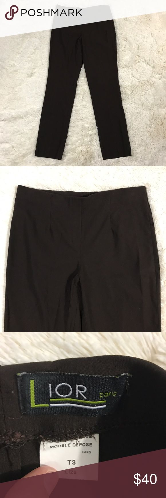 "🇺🇸SALE🇺🇸Lior Paris Lize Dress Pants Size 6/8 Women's size T3 (Euro sized - equals US 6/8) brown Lion Paris Lize stretch straight leg, pull on, dress pants. 77% viscose, 20% polyamide, 3% elasthanne. Comes from a smoke free home!  Measurements:  Waist - 15 1/2"" (stretch waist) Length - 38 1/2"" Inseam - 29 1/2""  I have another pair of these in my store that are the same size. I would be happy to make a great deal if you would like to purchase both! Lior Pants Straight Leg"