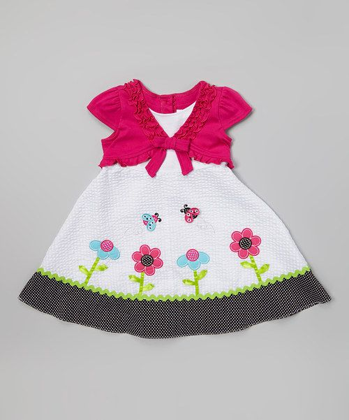 Take a look at the Fuchsia & White Seersucker Flower Dress - Infant & Girls on #zulily today!