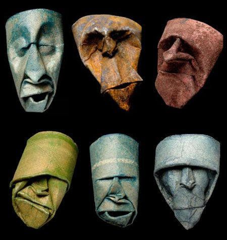 Junior Fritz Jacquet is an artist that loves working with paper and has created a series of small masks by bending and folding empty toilet paper rolls.