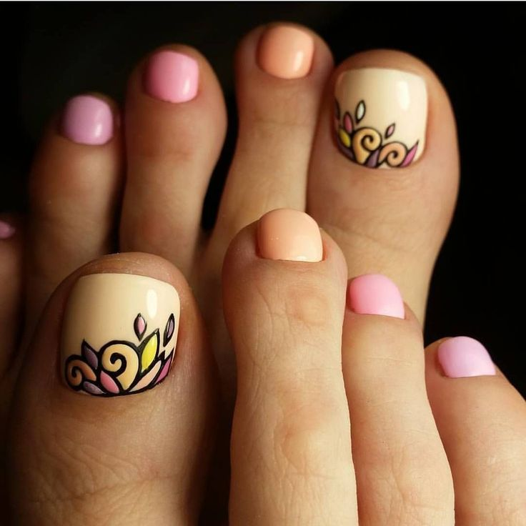 Summer colorful toe nail art #PedicureIdeas