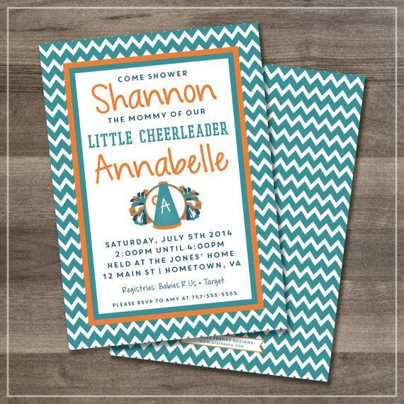 Party Invitation   Cheerleader   Digital Files   $12.00   Amanda Franks Designs   Customize With Your Favorite Team Colors & Event (Baby Shower, Birthday, Team Party, Etc.)