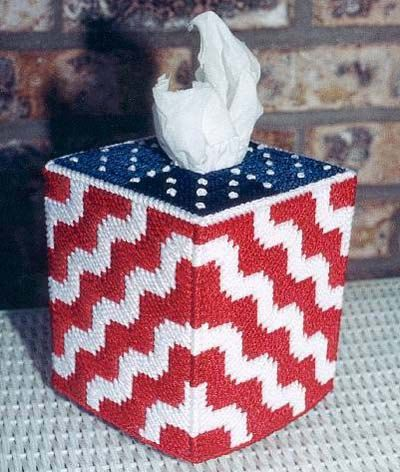 RIPPLING US FLAG - Patriotic Boutique Size Tissue Box Cover - Needlepoint on Plastic Canvas