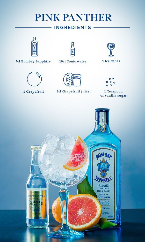 Pink Panther: 1. Fill glass with ice cubes, add grapefruit juice, vanilla sugar, 5cl Bombay Sapphire and top off with tonic water. 2. Garnish with a slice of grapefruit.