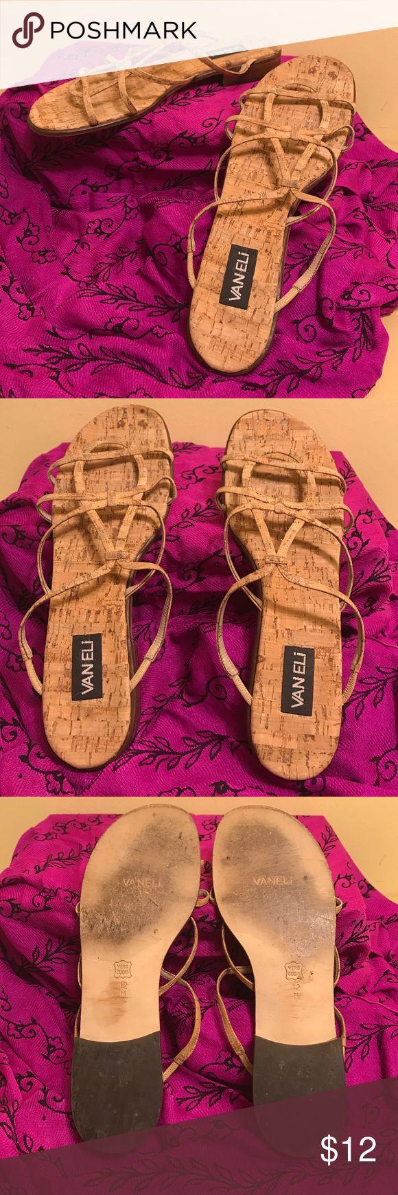 Vaneli 12M sandal Cork material used Vaneli Sandal 12M Cork Material for straps & insole,  wood heels, gently  used Vaneli Shoes Sandals