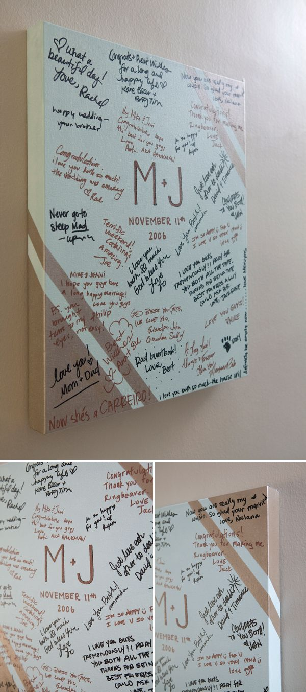 #DIY ~ large gallery style painted canvas as your wedding guest book, so cute!