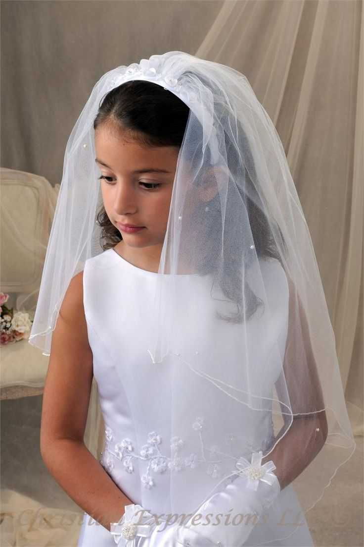 First Communion Headband Veil With Pretty Flowers