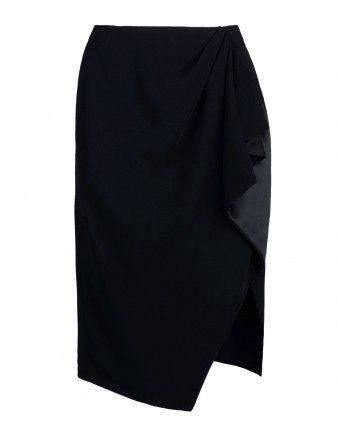 Altuzarra Black Ruffled Asymmetry Crêpe Skirt