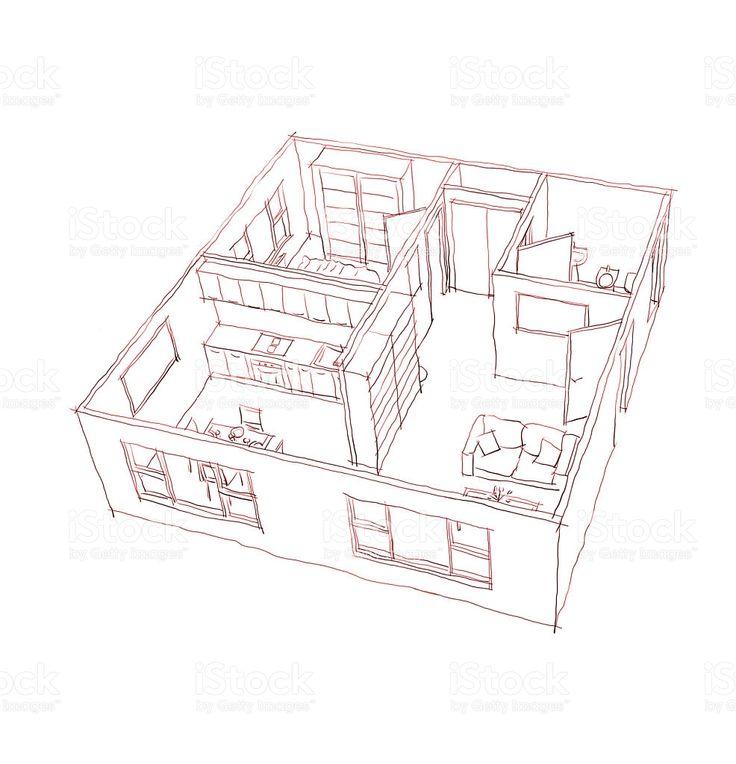 3 d interni a mano libera Penna disegno schizzo di arredate appartamento illustrazione royalty-free