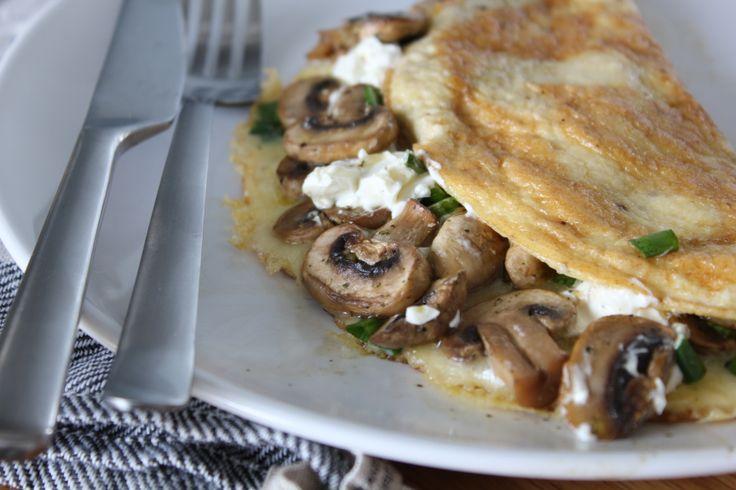 Mushroom, lemon & cream cheese omelette