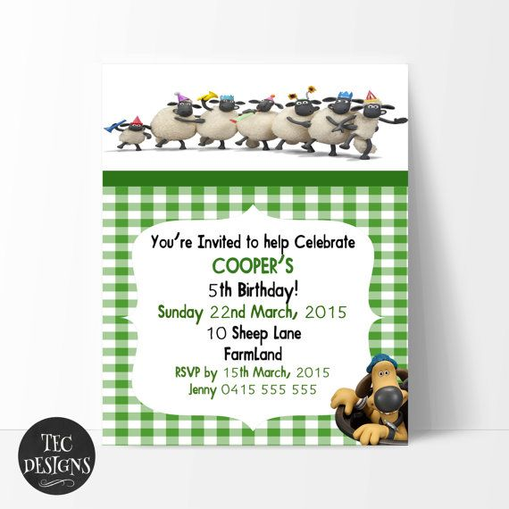 Shaun the Sheep Birthday Invitation Edit and Print by TECDesigns