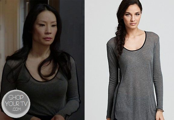 Shop Your Tv: Elementary: Season 1 Episode 16 Watson's Grey Shirt with Black Piping