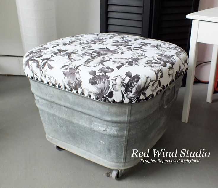 Wash Tub Ottoman. I would use plastic like material (such as a cheap tablecloth), making it waterproof and leave it outside!! Home Depot also has paint that you can make the tin look like stone for further protection.