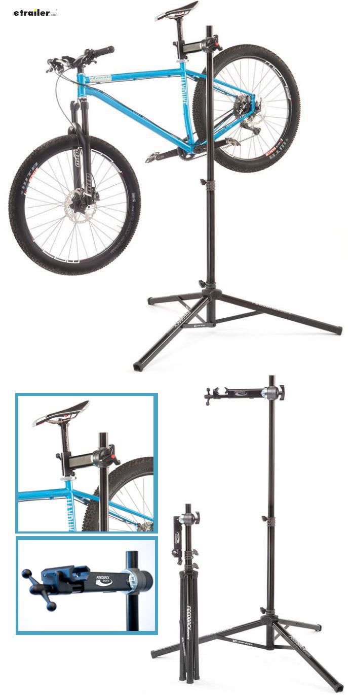 Feedback Sports sport mechanic work and wash bike stand Built to maximize portability and functionality Spinner-knob clamp securely holds bike 360-Degree rotating clamp design Stable tripod design