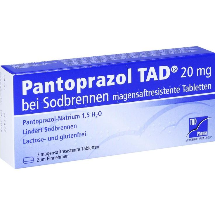 PANTOPRAZOL TAD 20mg magensaftres. Tabletten bei Sodbrennen:   Packungsinhalt: 7 St Tabletten magensaftresistent PZN: 05522677…