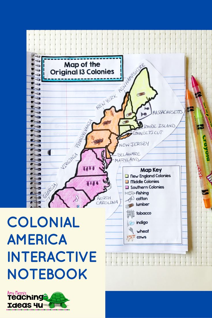 Colonial America Interactive Notebook - Let your 4th, 5th, or 6th grade classroom or home school students use these printables, scaffolded notes, and interactive notebooks to learn about Colonial America. You get maps, graphic organizers, essential questions, vocabulary, and more. Topics include early English settlements , Colonial regions, government, slavery, and more. {upper elementary, fourth, fifth, sixth graders} $