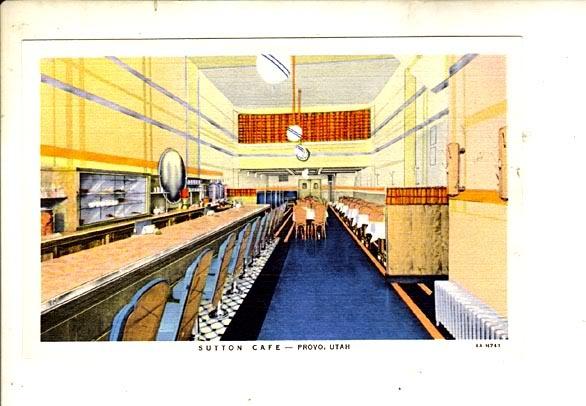 1940s postcard of Sutton Cafe, Provo, Utah