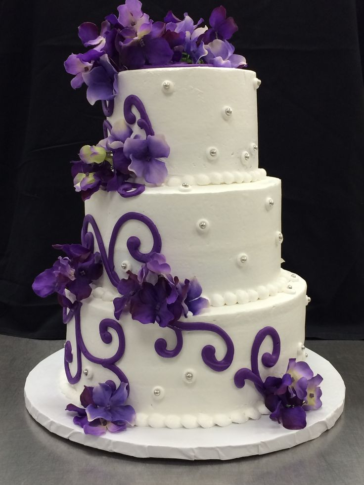 Wedding Cake Ercream Bold Scrolls Purple Dregees By Stephanie Dillon