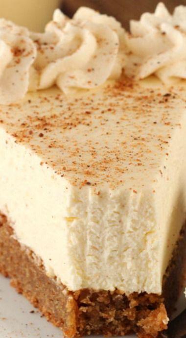 Eggnog Spice Blondie Cheesecake