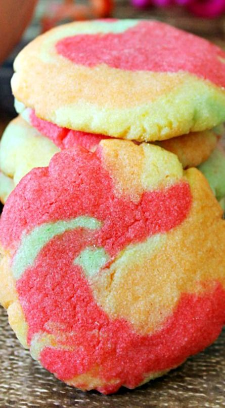 Rainbow Sherbet Cookies Recipe ~ You can use any flavor Jello you need to make whatever flavor or color combo you need.