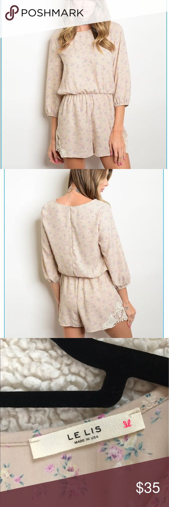 """Crochet Taupe Floral Romper NWOT BRAND NEW Spring inspired ,delicate , ultra feminine light taupe romper with white crochet details . Can be dressed up for a night out or dressed down  for an effortless chic look. Made in USA .  Fabric- 100% polyester  L about 30"""" ; B about 32 ; W about 25 for size S In stock S-2; M-2; L-2.  Price is firm unless bundled.Bundle discount is 15% of 2 or more items 🙃 Other"""