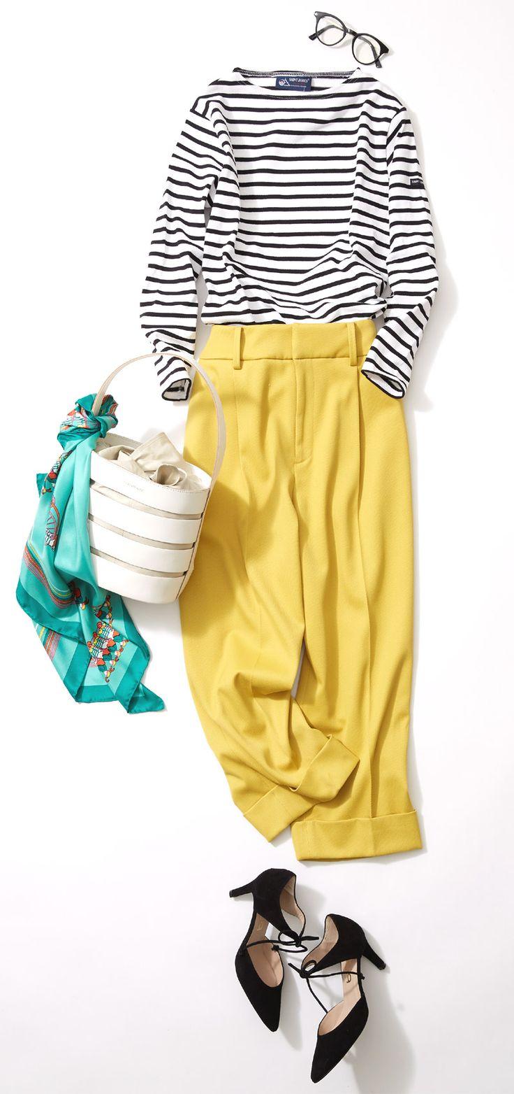 """きれい色パンツとスカーフで春らしく!ルミネが2017春に提案するトレンドテーマは、「Favorite Hiding Place」。""""ロマンティック""""で幸福感あふれる服で、自分だけのお気に入りスタイルを見つけましょう! 洗練されたシンプルなコーディネートで人気のスタイリスト川上さやかさんがリアルな着こなしを実践します!"""
