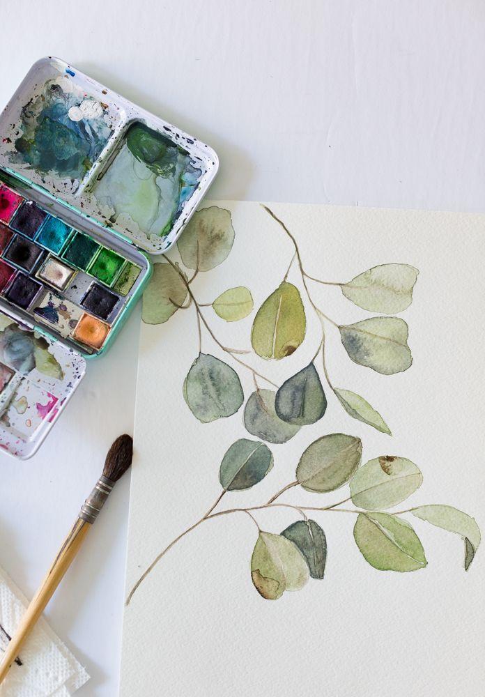Kostenloses Aquarell Eukalyptus zum Ausdrucken und…