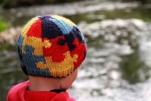 knitting pattern Autism Awareness hat. knit hat