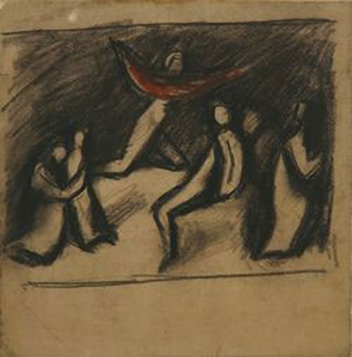 Group with red cloth. Lev Zhegin (1892-1969)  Studied at the School of Painting and Drawing 1910 and the Moscow School of Painting, Sculpture 1911-1918. In 1913 L.Zhegin for several months studied the modern Western European art. Zhegin regularly presented his works at the exhibitions. He participated in decoration of Moscow devoted to the first anniversary of revolution (1918), worked as a teacher at the House of Art in  Moscow (1920), the Moscow Proletcult studio (1920-1925).